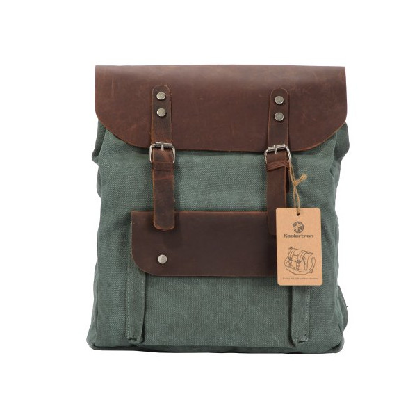 Koolertron Women vintage retro genuine leather canvas backpack rucksack weekend bag stachel (Green)