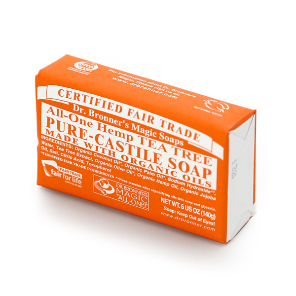 Dr. Bronner's Hemp & Tea Tree Bar Soap, 6 pack