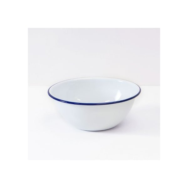 Enamelware Cereal Bowl, Vintage White with Blue Rim