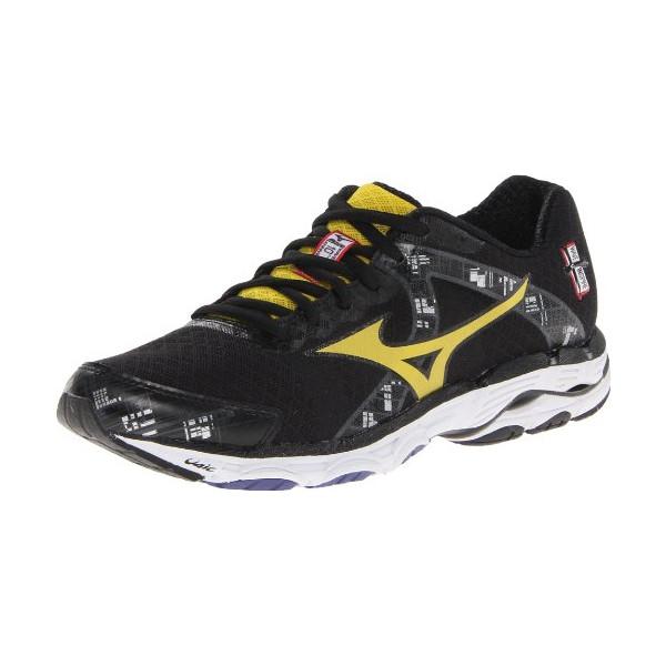 Mizuno Men's Wave Inspire 10 Running Shoe,Black/Cyber Yellow/Directoire Blue,10 D US