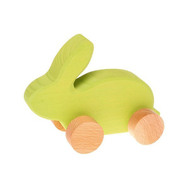 Grimm's Baby's First Moving Animal - Classic Wooden European Push Toy, Rabbit