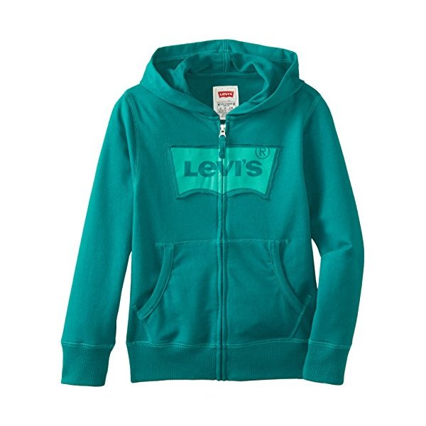 Levi's Big Boys' Keller Zip Front Hoodie, Teal Green, Large
