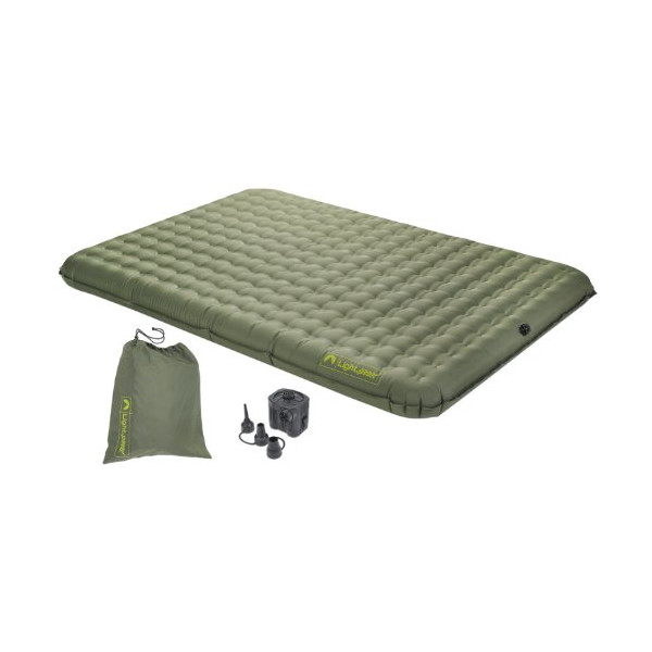 Lightspeed Outdoors 2-Person PVC-Free Air Bed w/ Battery Operated Pump, Green