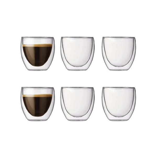 Pavina Double Wall Espresso/Shot Glass, 2-1/2-Ounce, Pay 4 Get 6 Bonus Pack