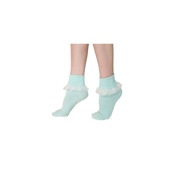 American Apparel Girly Lace Ankle Sock - Navy/White / One Size