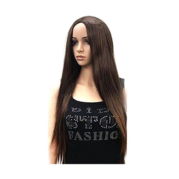 NuoYa001 Dark Brown 28'' Women Ladies Long Straight Hair Full Wigs No Bang Middle Part Goddess Party