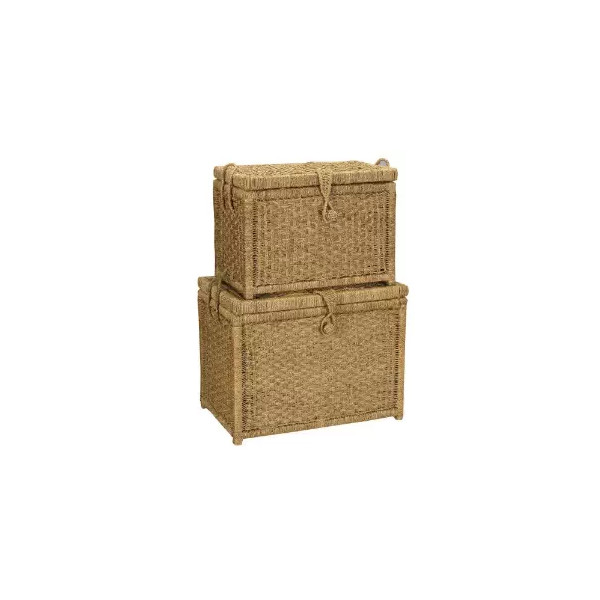 Whitney Design ML-6102 Woven-Seagrass Storage Chests with Hinged Lids