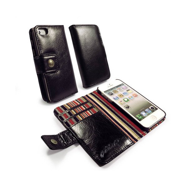 Alston Craig Vintage Genuine Leather Wallet Case for iPhone 5/5s - Retail Packaging - Black