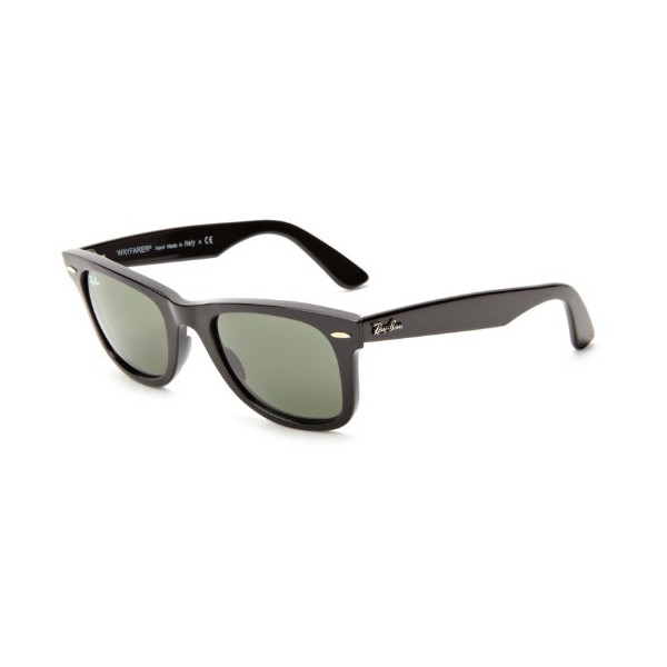Ray-Ban RB2140 Original Wayfarer Sunglasses 50 mm, Non-Polarized, Black Frame/Green G-15XLT lens