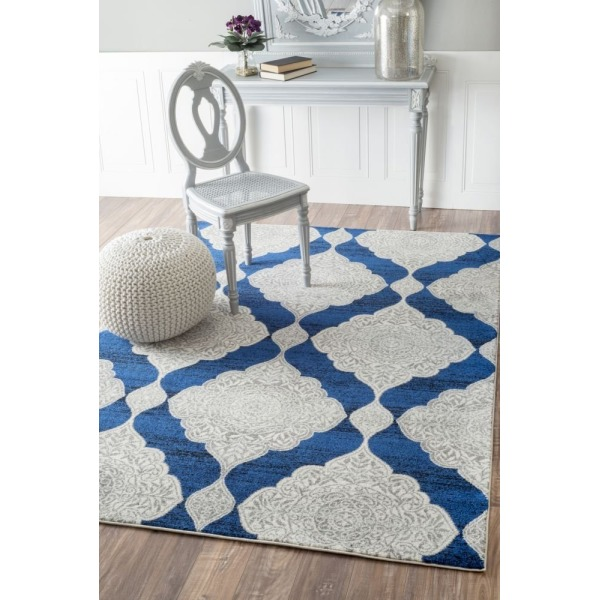 "Transitional Royalty Trellis Blue Rug, (7' 10"" x 10' 10"")"