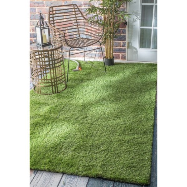 Contemporary, Solid & Striped Grass Green Rug, (5' x 8')