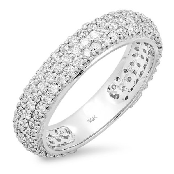 1.30 Carat (ctw) 14K White Gold Round White Diamond Ladies Pave Set Anniversary Wedding Eternity Ring Band