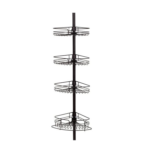 Zenna Home 2132HB, Tension Corner Pole Caddy, Oil Rubbed Bronze