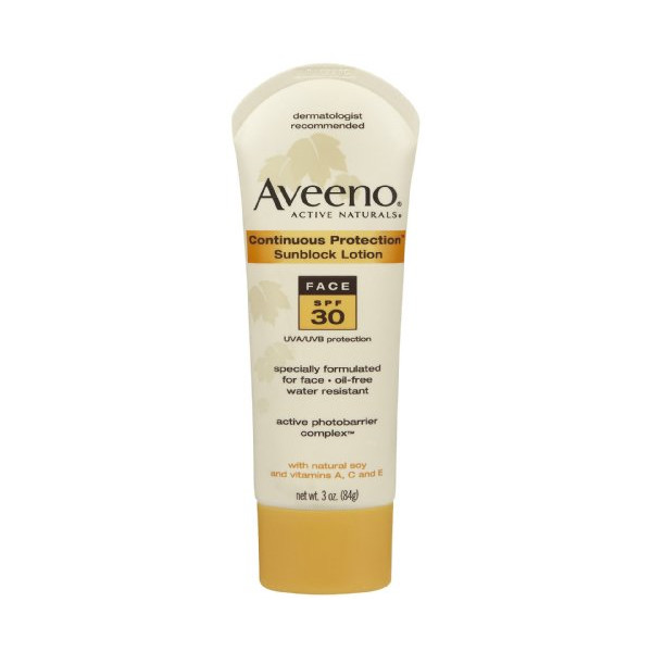 Aveeno Continuous Protection Lotion Face SPF 30, 3 Ounce