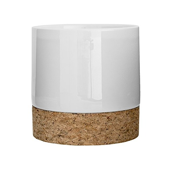 Bloomingville A32602170 Round Ceramic Flower Pot with Cork Bottom, Matte White