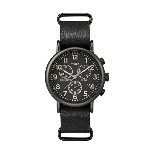 Timex #TW2P62200 Men's Weekender Slip-On Leather Band Black Dial Chronograph Watch