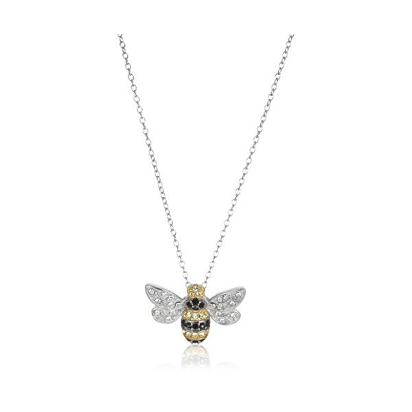 18k Yellow Gold Plated Sterling Silver Multi-Colored Swarovski Crystal Bee Pendant Necklace, 18""