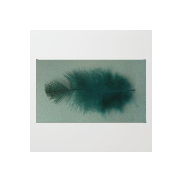 Society6 - Teal Feather On White Rug by TheseRmyDesigns