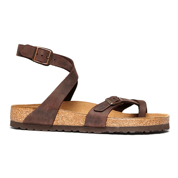 Birkenstock Yara Womens Thong Sandals, Brown Leather