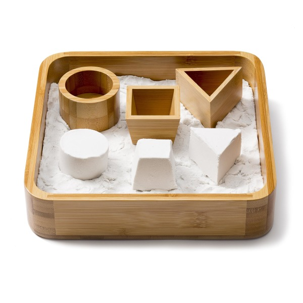 Sand Tray, Bamboo Executive Sandbox with 3 Sand Molds