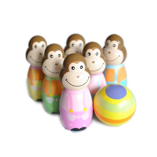 Wooden Bowling Monkey Skittles Pin Ball Set Childrens Toy 6 Monkeys 1 Ball