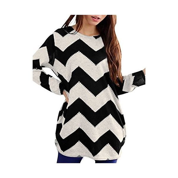 Allegra K Woman Round Neck Long Sleeve Zig-Zag Pattern Tunic Knitted Shirt