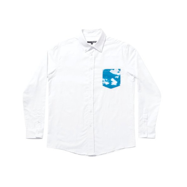 Quiet Life: Cloudy Long Sleeve Button-Up Shirt - White (Medium)