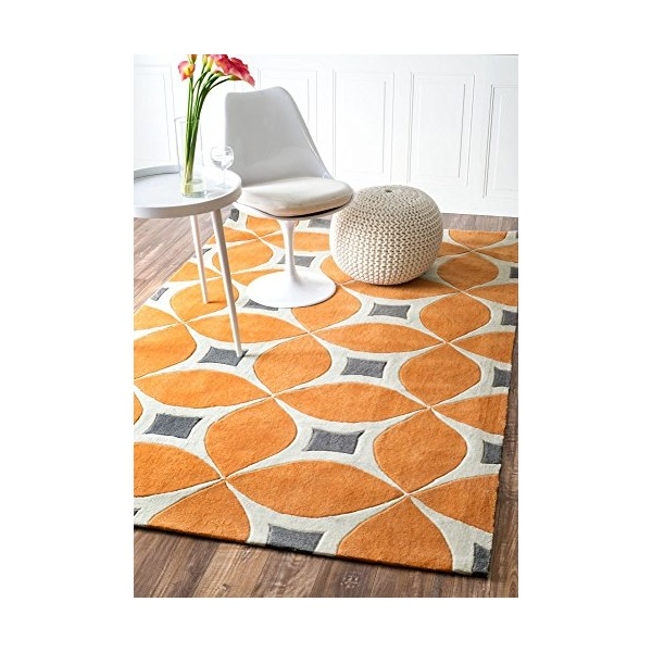 Handmade Modern Trellis Disco Deep Orange Area Rugs, 5 Feet by 8 Feet (5' x 8')