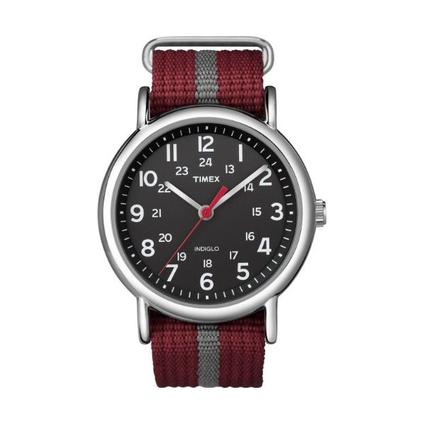 Timex T2N653 Weekender Unisex Indiglo Red/Gray Slip Through Nylon Strap Black Dial Watch