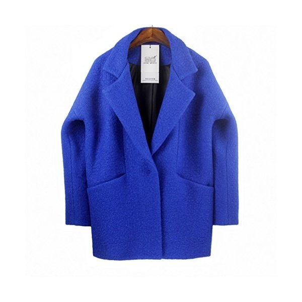 Amy Queen -Loose Cocoon Wool Woolen Jacket (Blue)