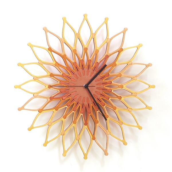 Flames II - large stylish wooden wall clock, sunburst clock, sunflower clock