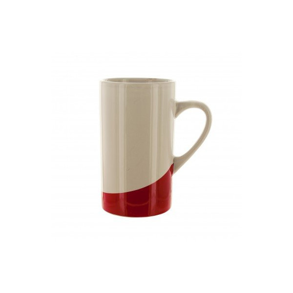 16 Ounce White Ceramic Coffee Mug with Red Base Glossy White