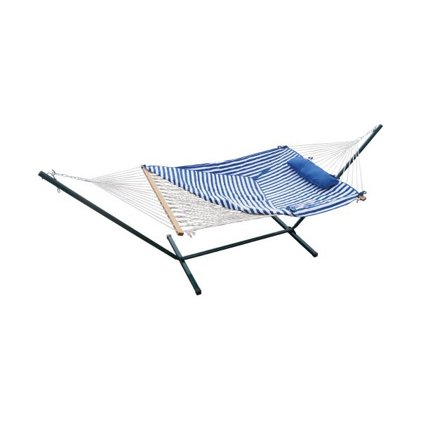 Prime Garden™ 4-Piece Heritage Hammock Essential Package,100% Cotton Rope, Polyester Pad And Pillow Combo,Offer The Soft Feel,Superior Outdoor Durability,Green Coated Steel Frame,Rust Resistant,Accommodate 1 person, weight limit 275 lb
