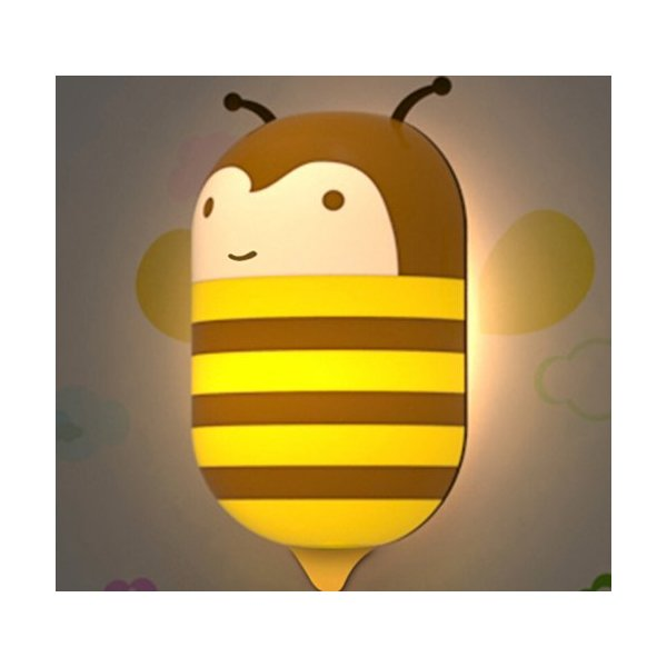 PDXD Kids Small Night Light With Sensor Plug-in Wall Night Lamp (Honey Bee)