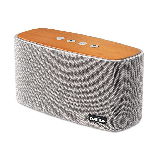 COMISO 40W Bluetooth Speakers, Dual-Driver Wireless Bluetooth Home Stereo Speaker with HD Sound Bold Bass, Bamboo Wood Speaker with 20 Hours Playtime for Echo Dot, iPhone, Samsung, iPad (Grey)