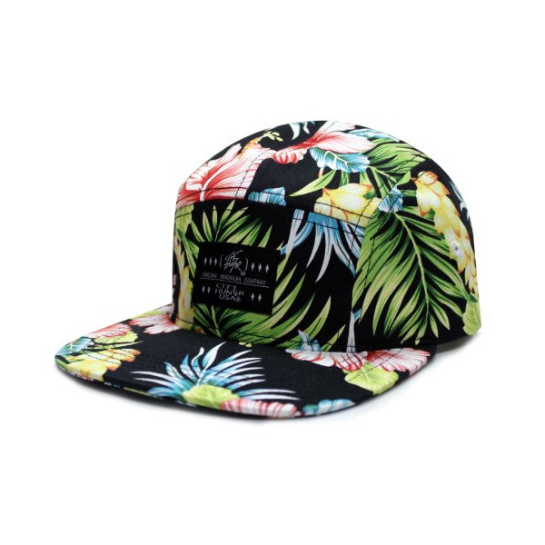 City Hunter Cn280 Floral Flower 5 Panel Biker Hat - Black
