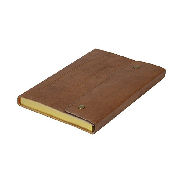 Hardcover Leatherette 200 Page Lined Journal with Snap closure and foil edge Brown Leatherette