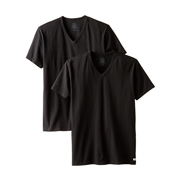 Calvin Klein Men's 2-Pack Cotton Stretch V-Neck T-Shirt, Black, Small