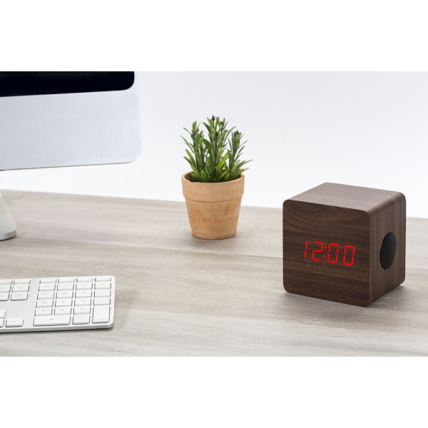 Beautiful Walnut Wood Bluetooth Portable Speaker, Alarm Clock and Digital Thermometer by Wasserstein