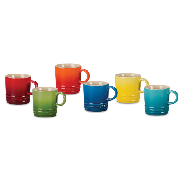 Le Creuset Stoneware Espresso Mugs, Rainbow Assortment, Set of 6