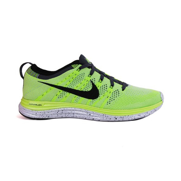 Nike Mens Flyknit Lunar 1 + 14 M US Volt/Black/White/Pure Platinum/Dark Grey