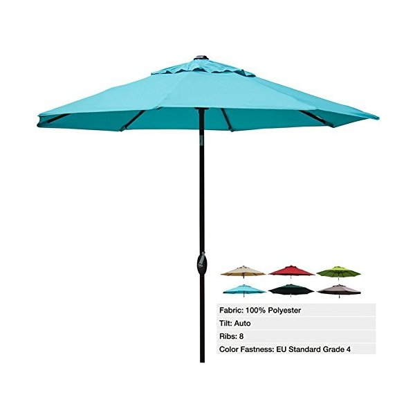 Abba Patio 9 Ft Outdoor Table Aluminum Patio Umbrella with Auto Tilt and Crank, Alu. 8 Ribs, Polyester, Turquoise