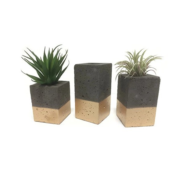 Square Concrete Planters / Vase. (set of 3). CHARCOAL & GOLD.