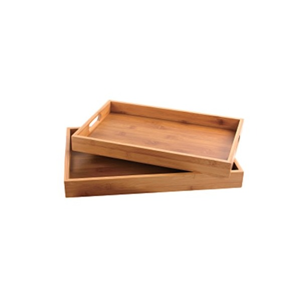 Culinary Edge Home Kitchen Set of Natural Bamboo Multi-Use Serving Trays