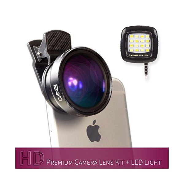ENVO Premium iPhone, iPad & iPod Camera Lens Kit + LED Flash Light for iPhone 6/6s/6s Plus/5s/5c/4s - Professional Grade Cell Phone & Tablet Lens (0.45x Wide Angle Lens and 12.5x Macro Lens)