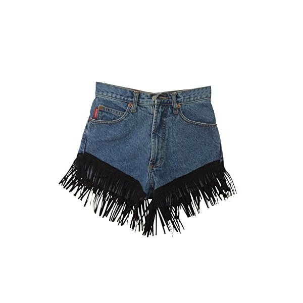 Women's High Waisted Vintage Levi's Blue Denim Black Leather Suede Fringe-L
