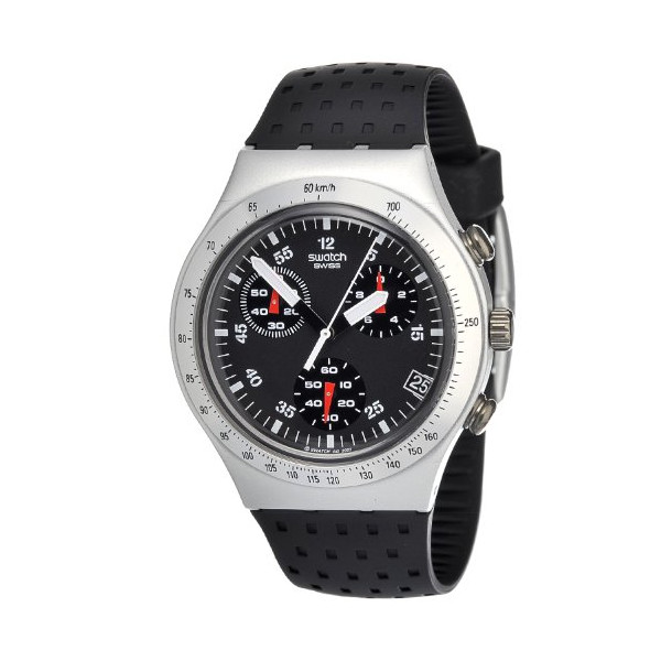 Swatch Men's YCS4024 Quartz Aluminum Black Dial Chronograph Watch
