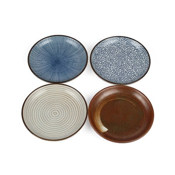 "Lagute Porcelain Dinnerware Plate Set of 4 pack Japanese Zen Style Dipping Sauce Dishes, for Appetizer, Dessert, Salad, Snack, Sushi, Fruit, Bread (Ice Cracks, Medium 3.8"") (Ice Cracks) (6.5"")"
