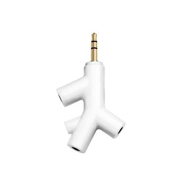 Kikkerland White Music Branch 3-Way Head Phone Splitter
