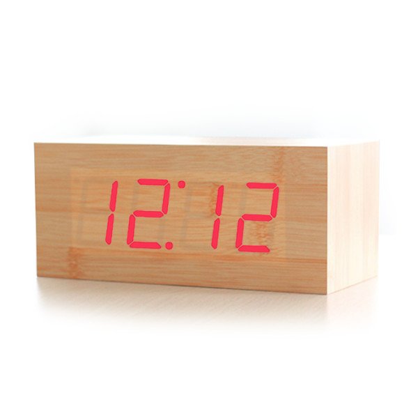 HITO™ Wood Grain LED Alarm Clock - Time Temperature Date - Sound Control - Latest Generation